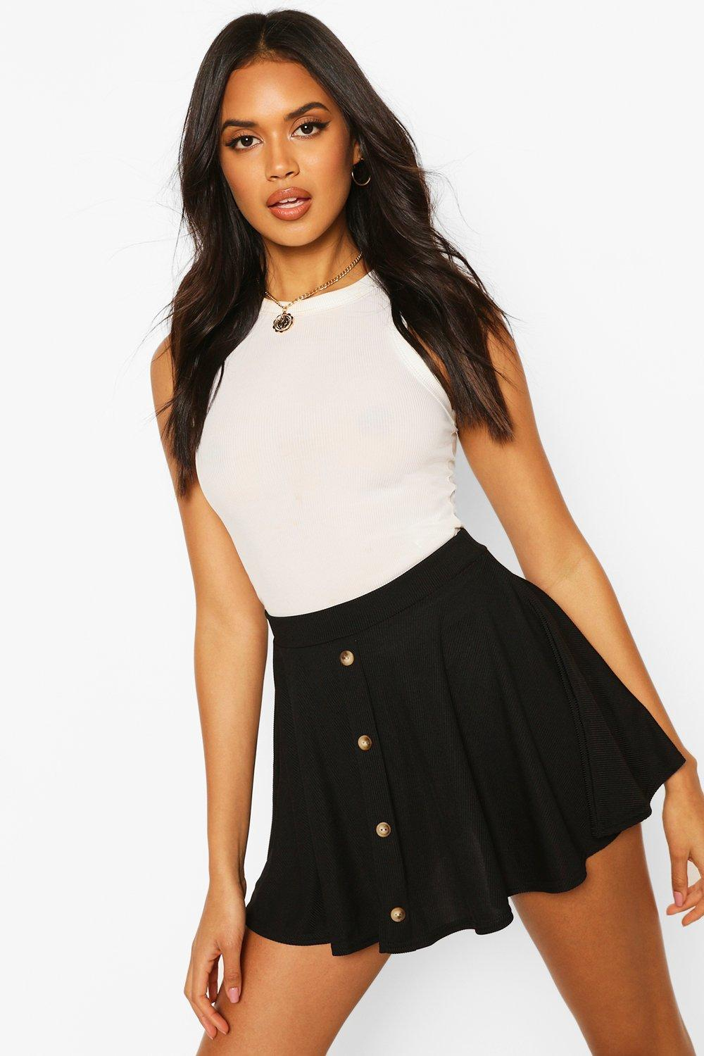 4aaf6ae2822 Basic Button Front Ribbed Skater Mini Skirt | Boohoo