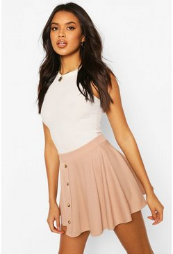 Sand Basic Button Front Ribbed Skater Mini Skirt