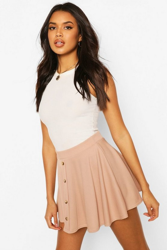 Womens Sand Basic Button Front Ribbed Skater Mini Skirt