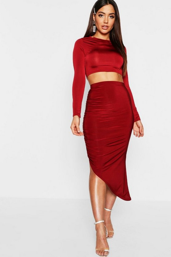 Disco Slinky Wrap Detail Midi Skirt