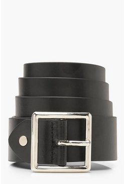 Womens Black Square Buckle Boyfriend Belt