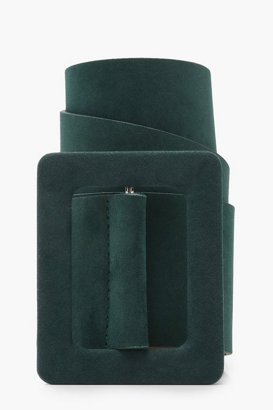 Womens Green Self Buckle Suede Belt
