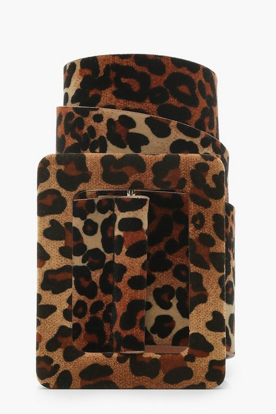 Womens Self Buckle Leopard Suede Belt