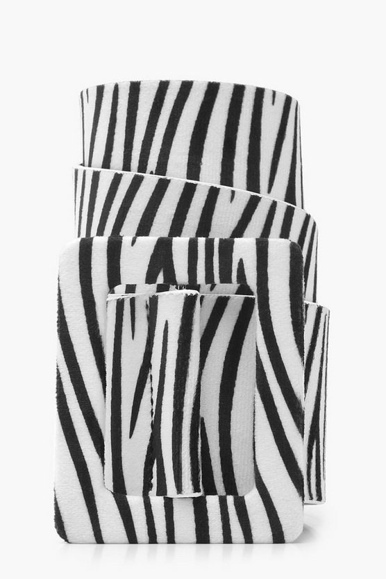 Self Buckle Zebra Suede Belt