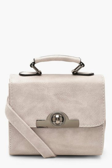 Womens Grey Lock & Handle Mini Grab Bag