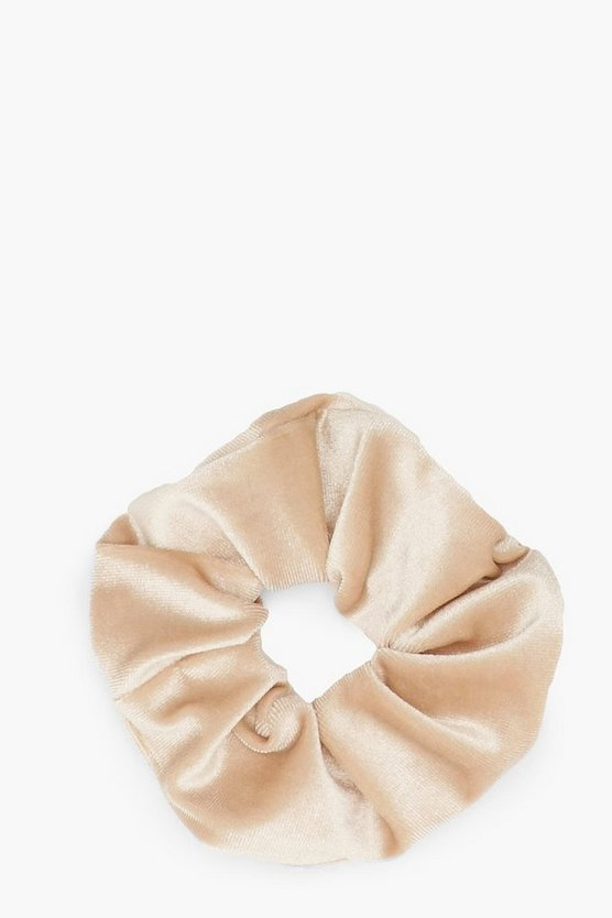 Womens Ecru Velvet Scrunchie