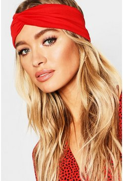 Womens Red Twist Knot Headband