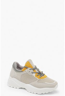 Womens Yellow Contrast Colour Chunky Trainers