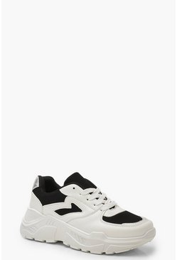 Womens Black Chunky Sneakers With Contrast Panel