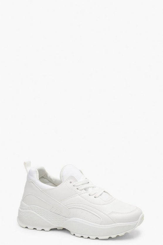 Womens White Chunky Dad Trainers