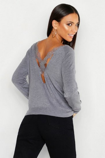 Womens Grey Lace Cross Back Jumper