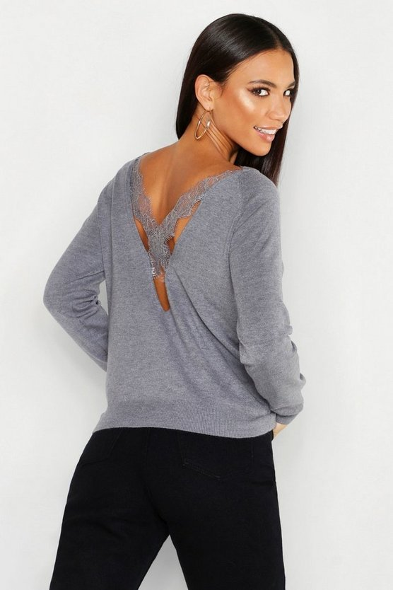 Womens Lace Cross Back Jumper