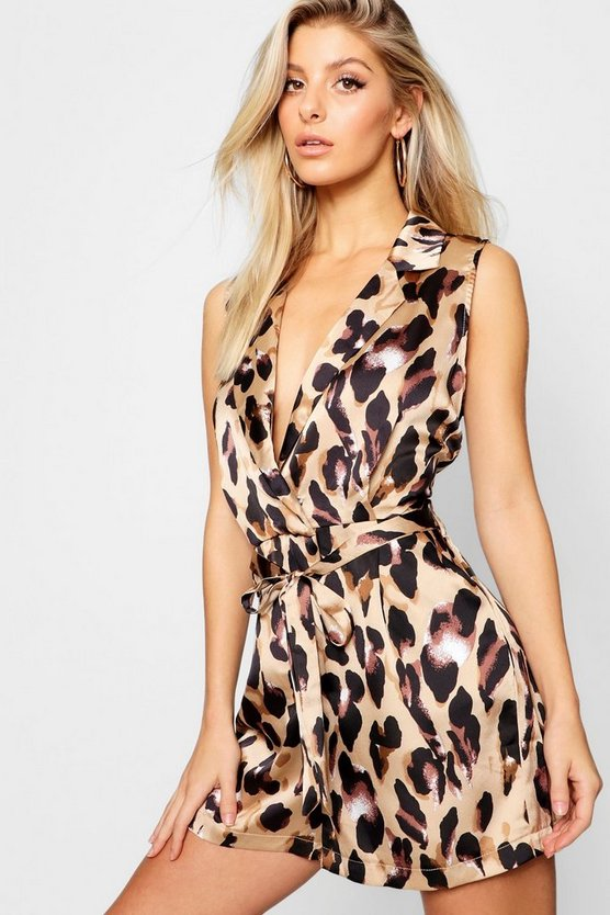 Leopard Satin Lapel Playsuit