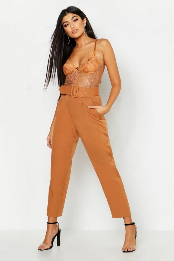 Womens Camel Belted Tailored Trouser