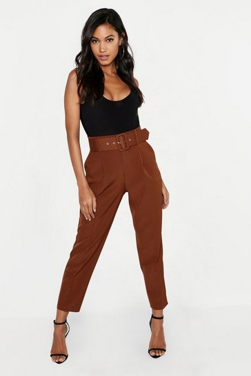 Chocolate Belted Tailored Trouser