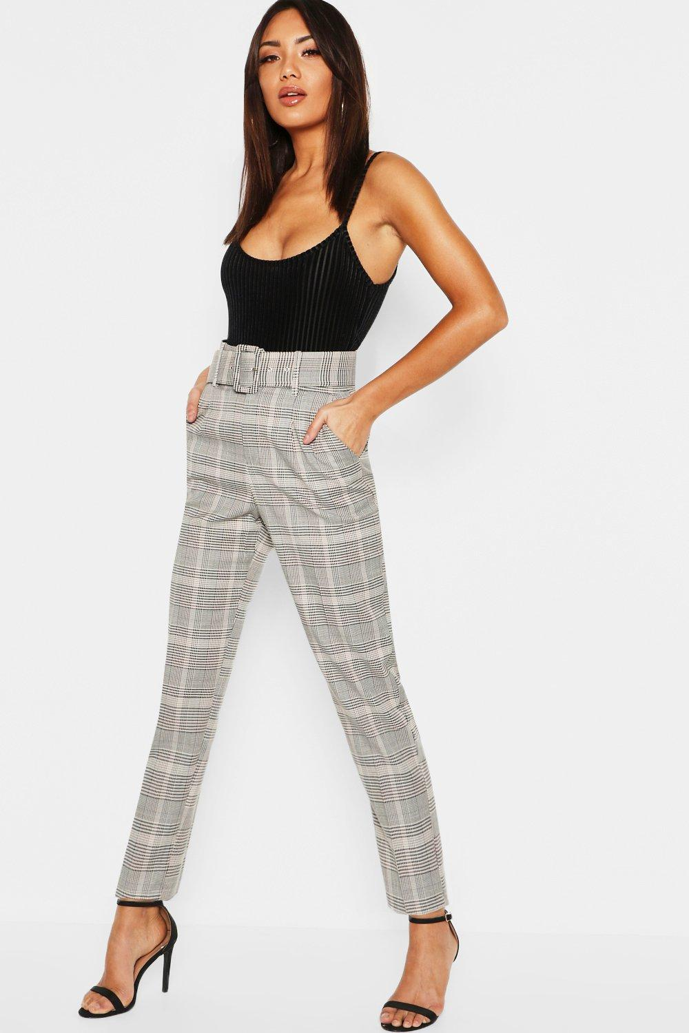Check Belted Tailored Trouser