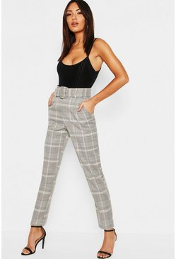 Womens Grey Check Belted Tailored Trouser