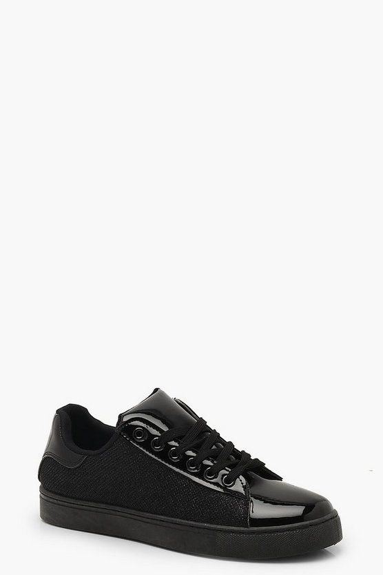 Glitter Panel Lace Up Trainers