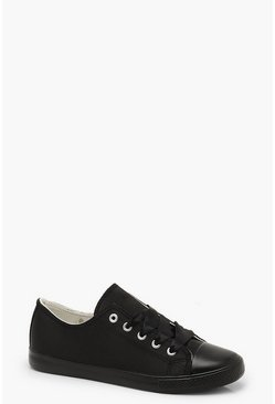 Womens Black Ribbon Lace Up Trainers