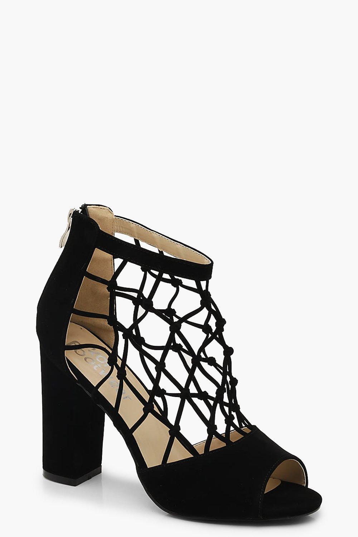 Block Heel Fishnet Peeptoe Heels