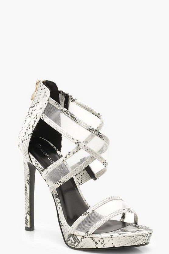 Cross Strap Stiletto Snake Heels