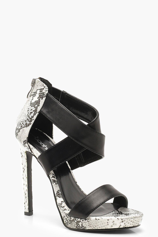 Cross Strap Stiletto Snake Heels