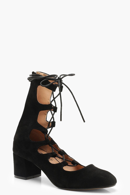 2c2e4852e4d Block Heel Lace Up Ballet Pumps | Boohoo