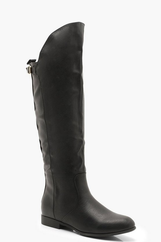 Womens Black Knee High Rider Boots With Buckle