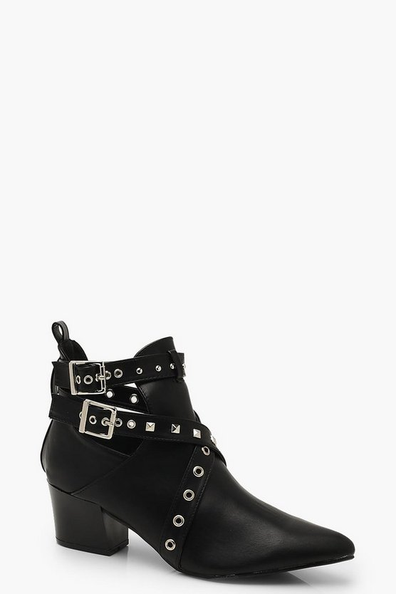 Studded Block Heel Shoe Boots