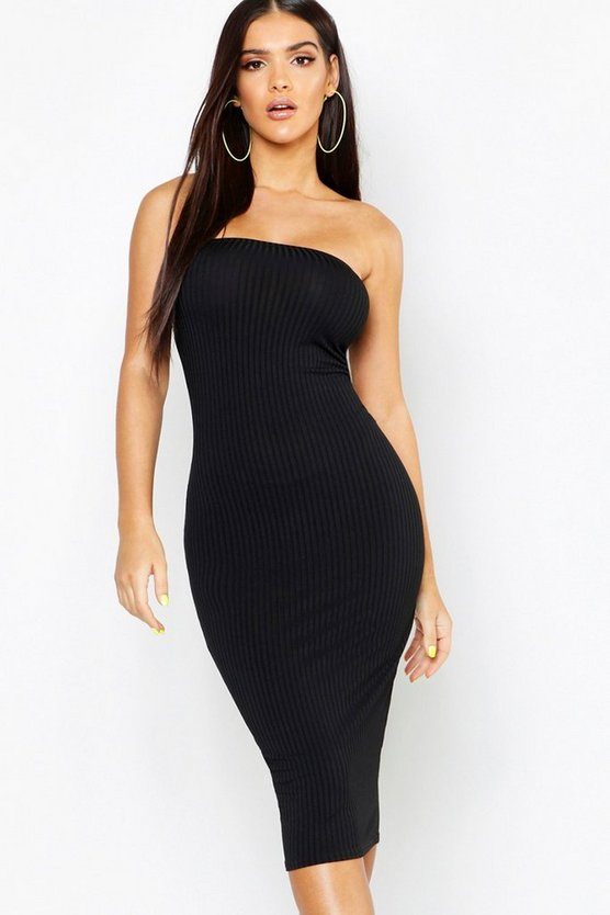 Womens Black Jumbo Rib Neon Bodycon Midi Dress