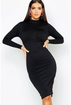 Womens Black Jumbo Rib Neon High Neck Midi Dress