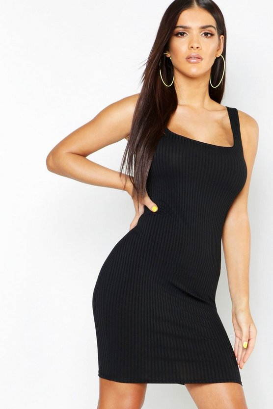 Jumbo Rib Square Neck Neon Bodycon Dress