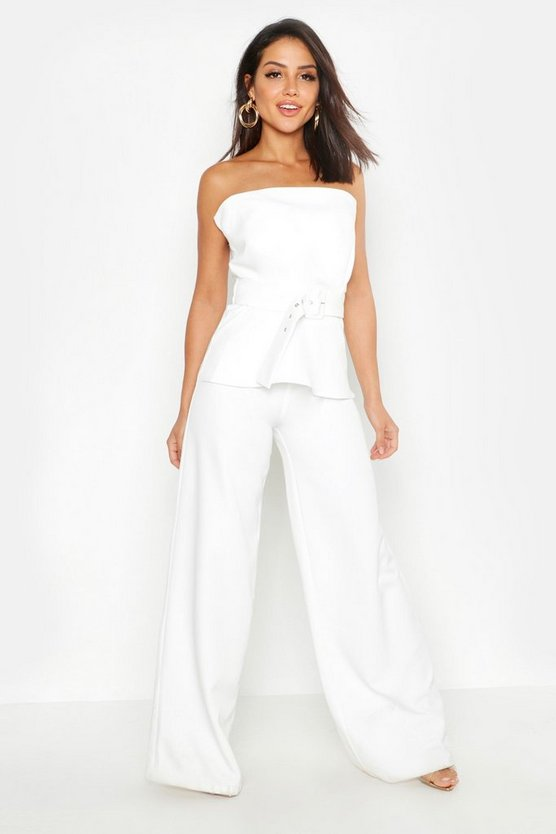 Womens Ivory Woven Belted Top + Wide Leg Pants Co-Ord