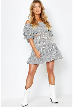 White Woven Spot Ruffle Sleeve + Skirt Co-Ord Set