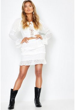 Womens White Woven Broidery Lace Up Top + Mini Skirt Co-Ord