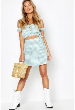 Sage Gingham Bardot Tie Detail + Wrap Skirt Co-Ord
