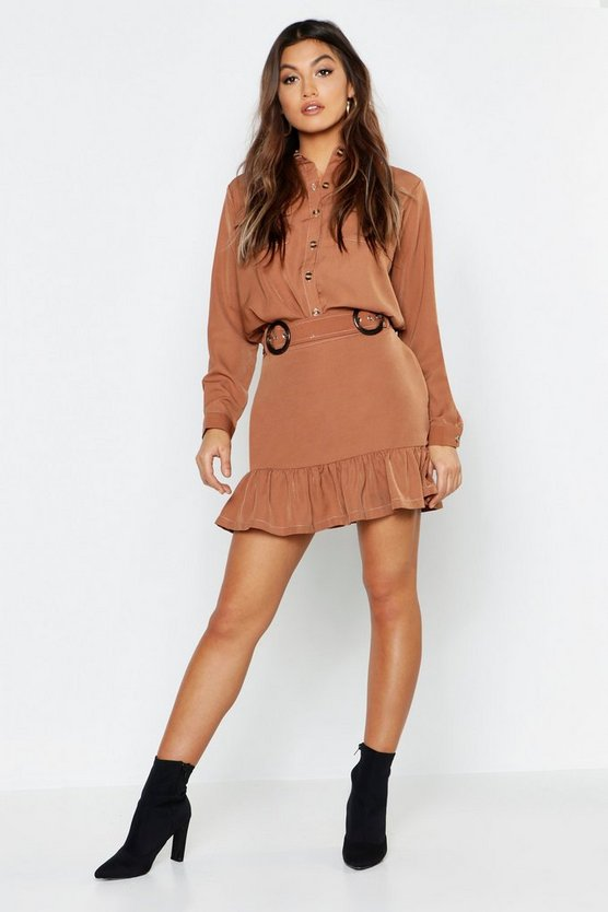 Camel Woven Utility Mock Horn Detail Shirt + Skirt Co-Ord