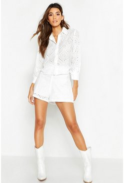 Womens White Broderie Anglaise Shirt + Short Co-Ord