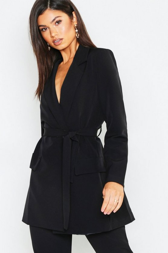 Womens Black Wrap Detail Belted Blazer