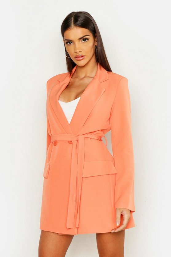 Womens Coral Wrap Detail Belted Blazer