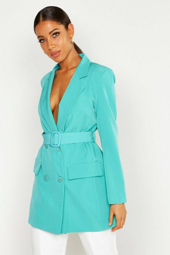 Womens Jade Wrap Detail Belted Blazer