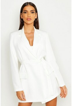 Womens White Wrap Detail Belted Blazer