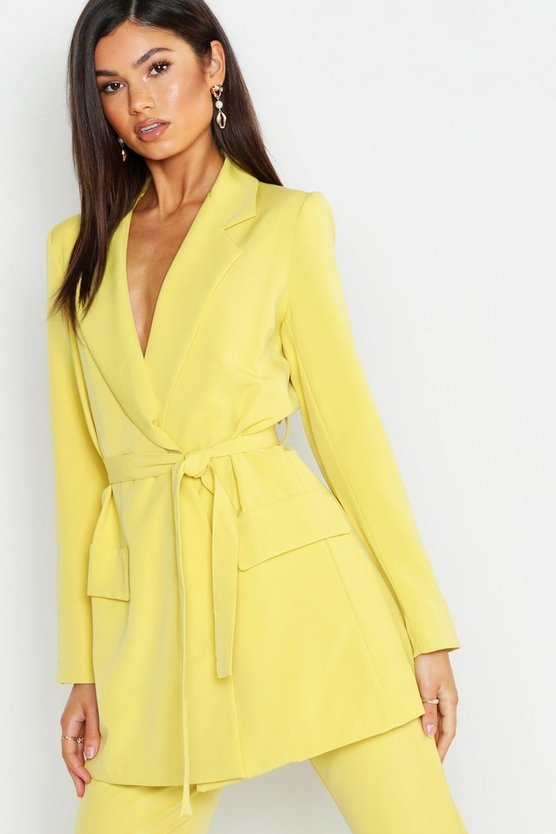 Womens Yellow Wrap Detail Belted Blazer