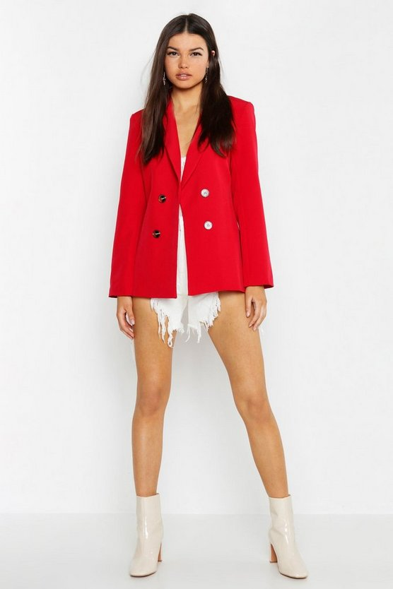 Tailored Button Front Blazer