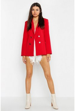 Womens Red Tailored Button Front Blazer