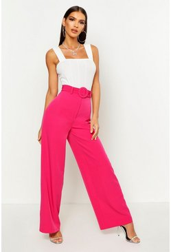 Womens Hot pink Wide Leg Belted High Waist Trouser