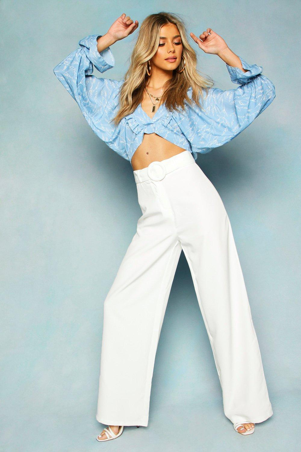 Vintage High Waisted Trousers, Sailor Pants, Jeans Womens Wide Leg Belted High Waist Pants - white - 10 $29.00 AT vintagedancer.com
