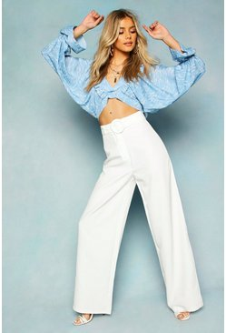 Womens Ivory Wide Leg Belted High Waist Pants
