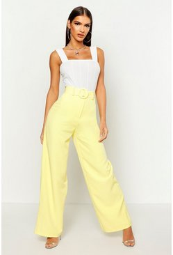 Womens Lemon Wide Leg Belted High Waist Trouser