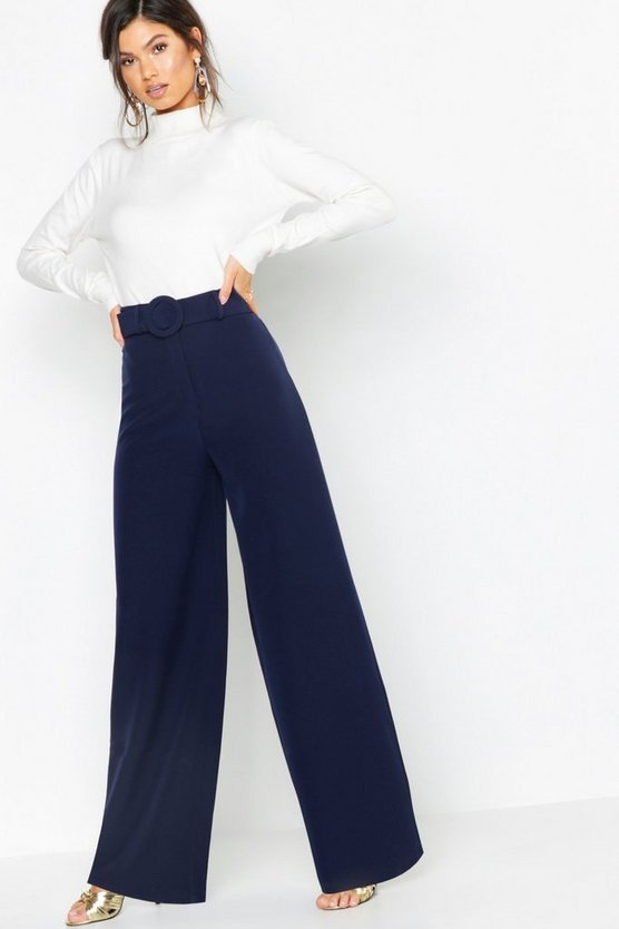 Womens Navy Wide Leg Belted High Waist Pants